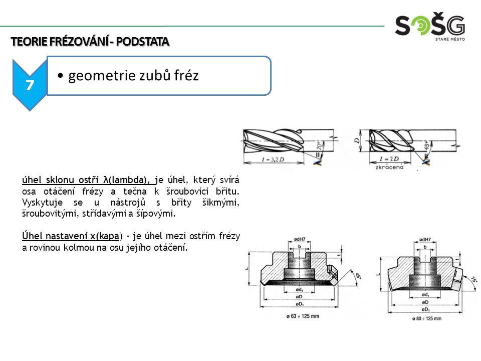 TEORIE FRÉZOVÁNÍ - PODSTATA 8 geometrie zubů fréz s VBD Geometrie frézovacích nástrojů s vyměnitelnými destičkami podle úhlu čela (γ): a)geometrie negativní - je vhodná pro frézování ocelí, litin a těžko obrobitelných materiálů při větším zatížení břitů v hromadné výrobě, b)geometrie pozitivní - pro ocelové a litinové součástky se sklonem ke chvění, pro součástky ze slitin hliníku a legované slitiny vytvářející snadno na čele břitu nárůstek, c)geometrie pozitivně negativní - pro frézování korozivzdorné oceli, litiny, mědi a jejích slitin, kdy v kombinaci s vhodným úhlem nastavení dovoluje plynulé odvádění dlouhých šroubovitých třísek.