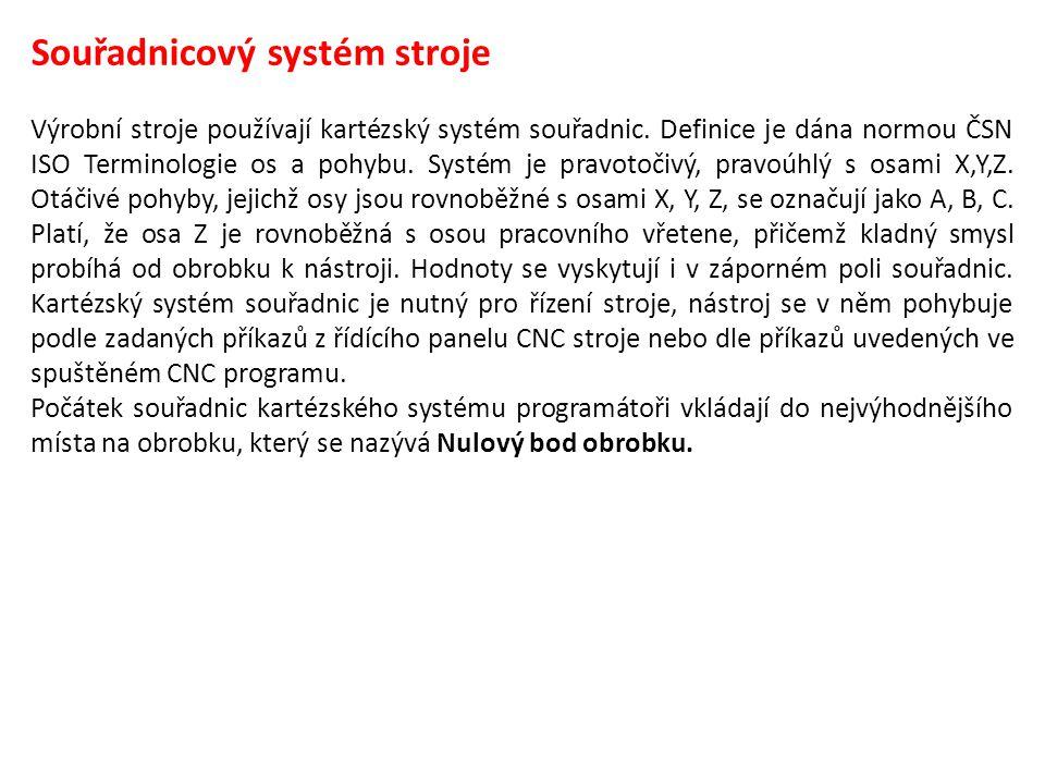 Souřadnicový systém stroje Výrobní stroje používají kartézský systém souřadnic. Definice je dána normou ČSN ISO Terminologie os a pohybu. Systém je pr
