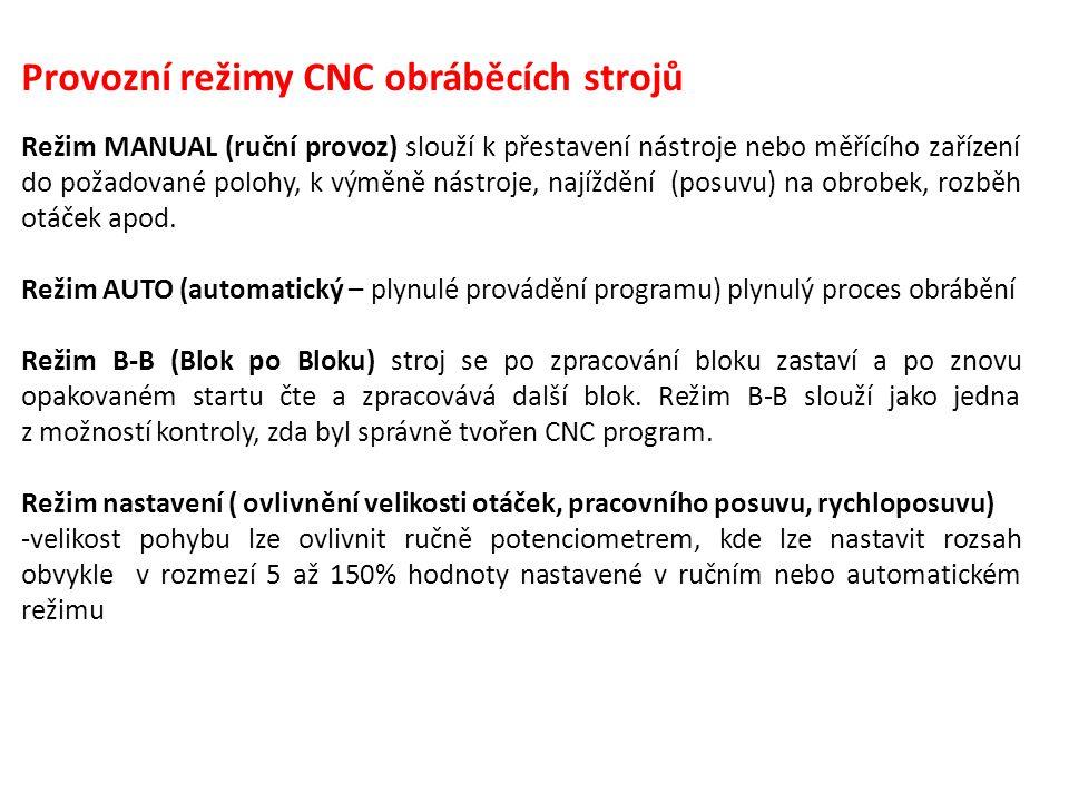 Provozní režimy CNC obráběcích strojů Režim MANUAL (ruční provoz) slouží k přestavení nástroje nebo měřícího zařízení do požadované polohy, k výměně n