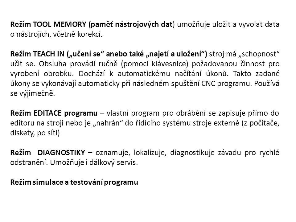 """Režim TOOL MEMORY (paměť nástrojových dat) umožňuje uložit a vyvolat data o nástrojích, včetně korekcí. Režim TEACH IN (""""učení se"""" anebo také """"najetí"""