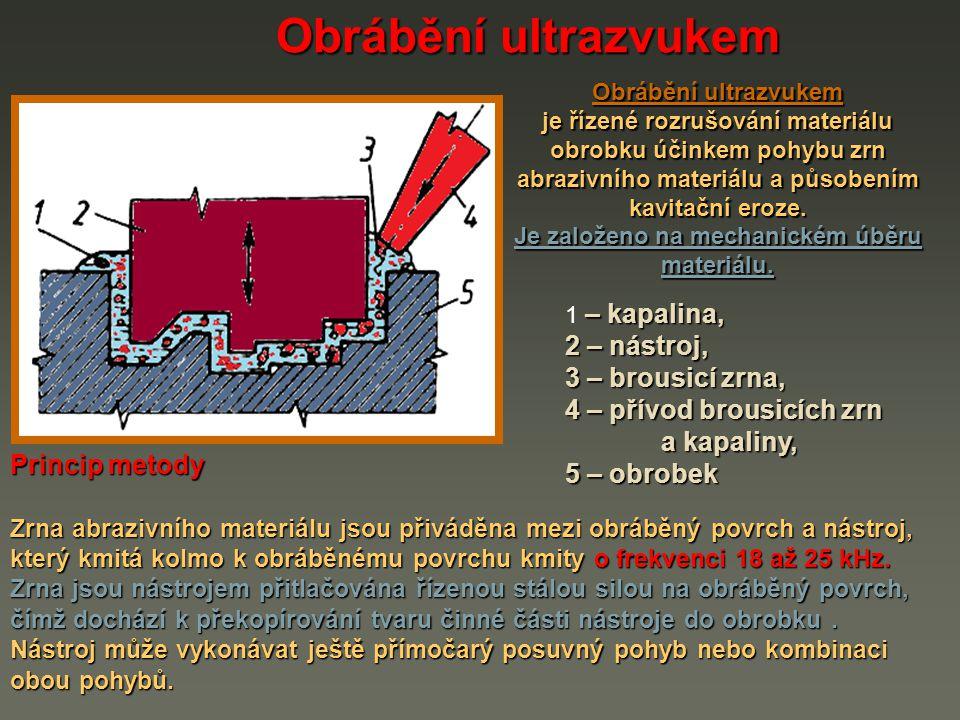 Zařízení pro obrábění materiálů ultrazvukem Obrábění ultrazvukem Zařízení je tvořeno těmito hlavními skupinami : 1 generátor ultrazvukových kmitů, 2 systém pro vytvoření mechanických kmitů, 3 přívod brousicích zrn a kapaliny, 4 obrobek, 5 nástroj