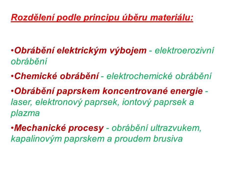 Rozdělení podle principu úběru materiálu: Obrábění elektrickým výbojem - elektroerozivní obrábění Chemické obrábění - elektrochemické obrábění Obráběn