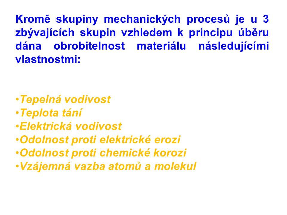 Kromě skupiny mechanických procesů je u 3 zbývajících skupin vzhledem k principu úběru dána obrobitelnost materiálu následujícími vlastnostmi: Tepelná vodivost Teplota tání Elektrická vodivost Odolnost proti elektrické erozi Odolnost proti chemické korozi Vzájemná vazba atomů a molekul