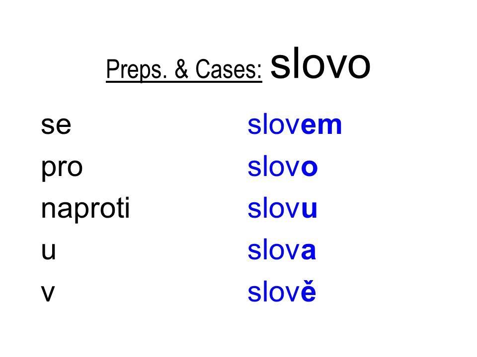 Preps. & Cases: slovo se pro naproti u v slovem slovo slovu slova slově