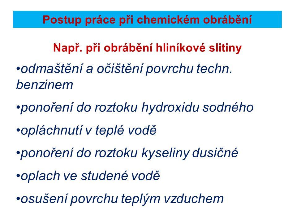 Postup práce při chemickém obrábění Např.