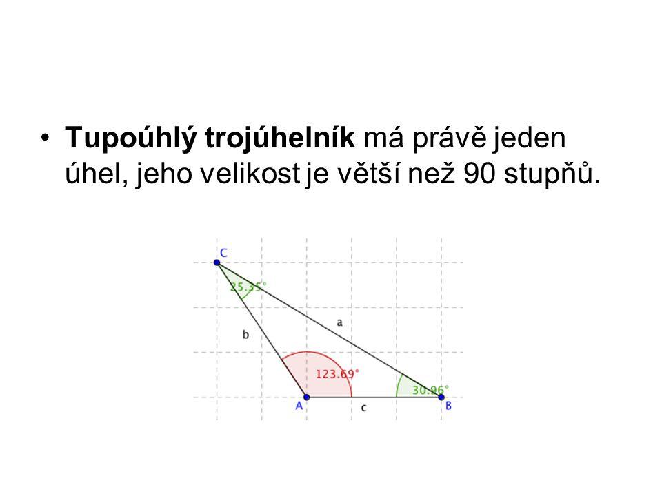 Tupoúhlý trojúhelník má právě jeden úhel, jeho velikost je větší než 90 stupňů.