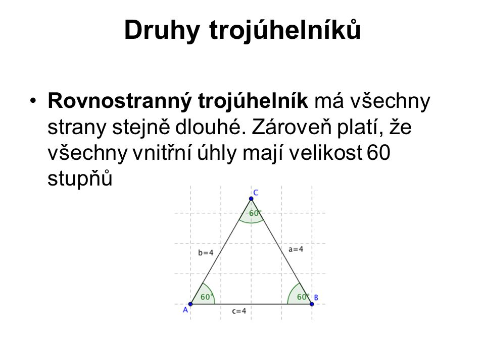 Druhy trojúhelníků Rovnostranný trojúhelník má všechny strany stejně dlouhé. Zároveň platí, že všechny vnitřní úhly mají velikost 60 stupňů