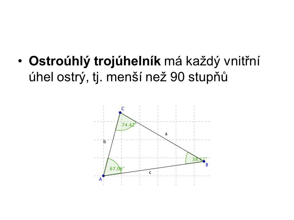 Ostroúhlý trojúhelník má každý vnitřní úhel ostrý, tj. menší než 90 stupňů