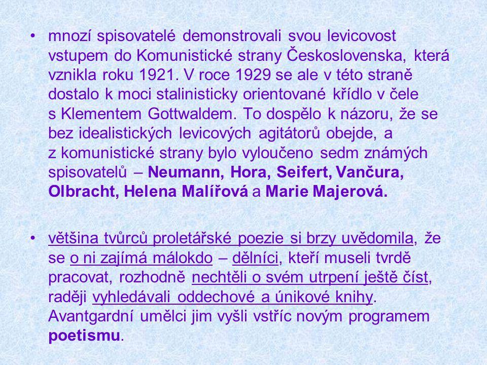 mnozí spisovatelé demonstrovali svou levicovost vstupem do Komunistické strany Československa, která vznikla roku 1921. V roce 1929 se ale v této stra