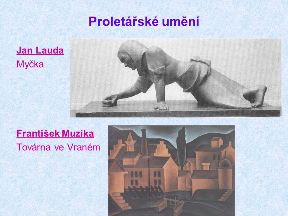 Proletářské umění Jan Lauda Myčka František Muzika Továrna ve Vraném