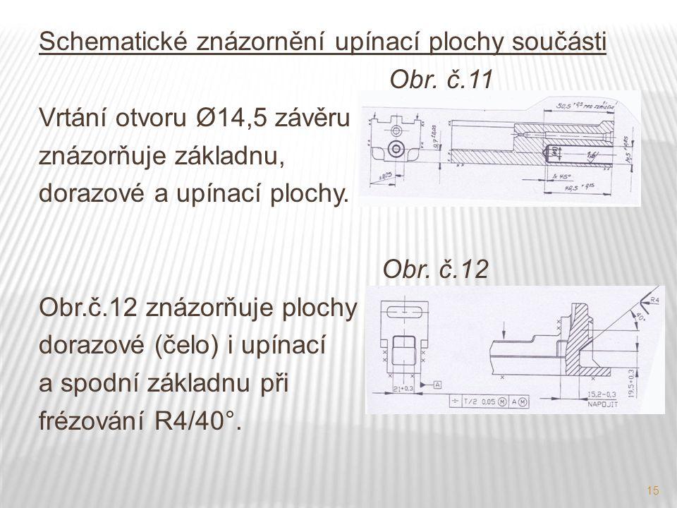 15 Schematické znázornění upínací plochy součásti Obr. č.11 Vrtání otvoru Ø14,5 závěru znázorňuje základnu, dorazové a upínací plochy. Obr. č.12 Obr.č