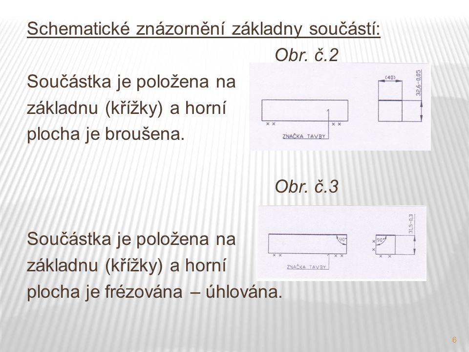 6 Schematické znázornění základny součástí: Obr. č.2 Součástka je položena na základnu (křížky) a horní plocha je broušena. Obr. č.3 Součástka je polo