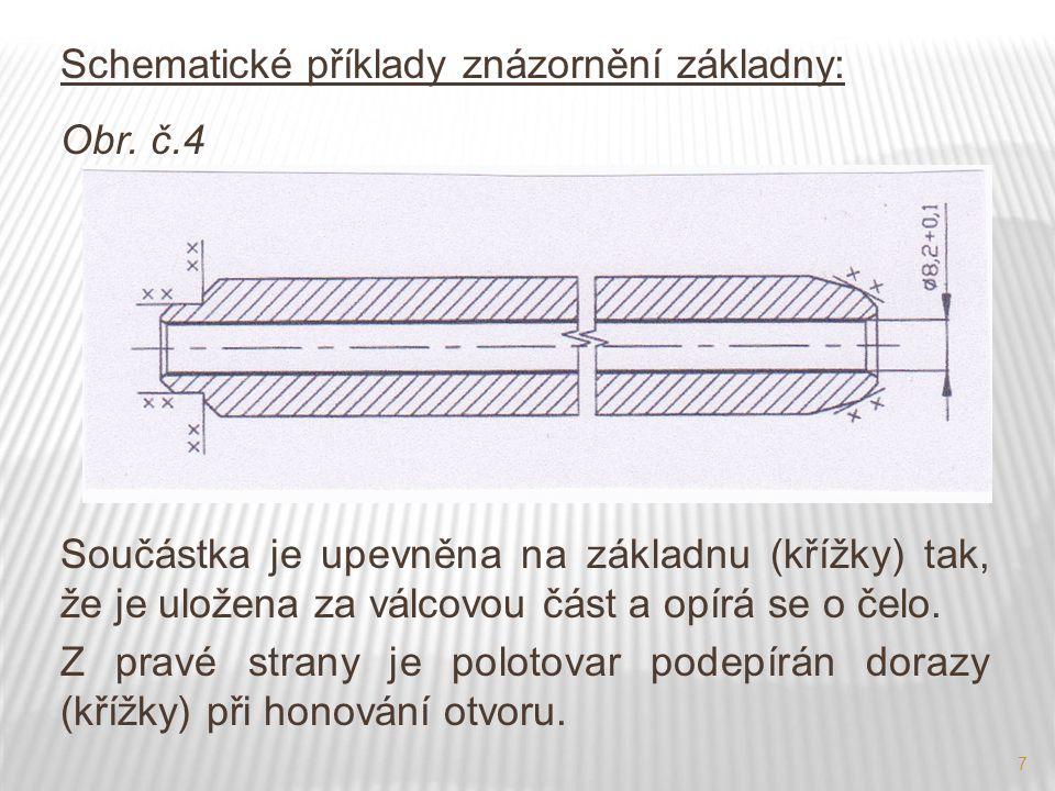 7 Schematické příklady znázornění základny: Obr. č.4 Součástka je upevněna na základnu (křížky) tak, že je uložena za válcovou část a opírá se o čelo.