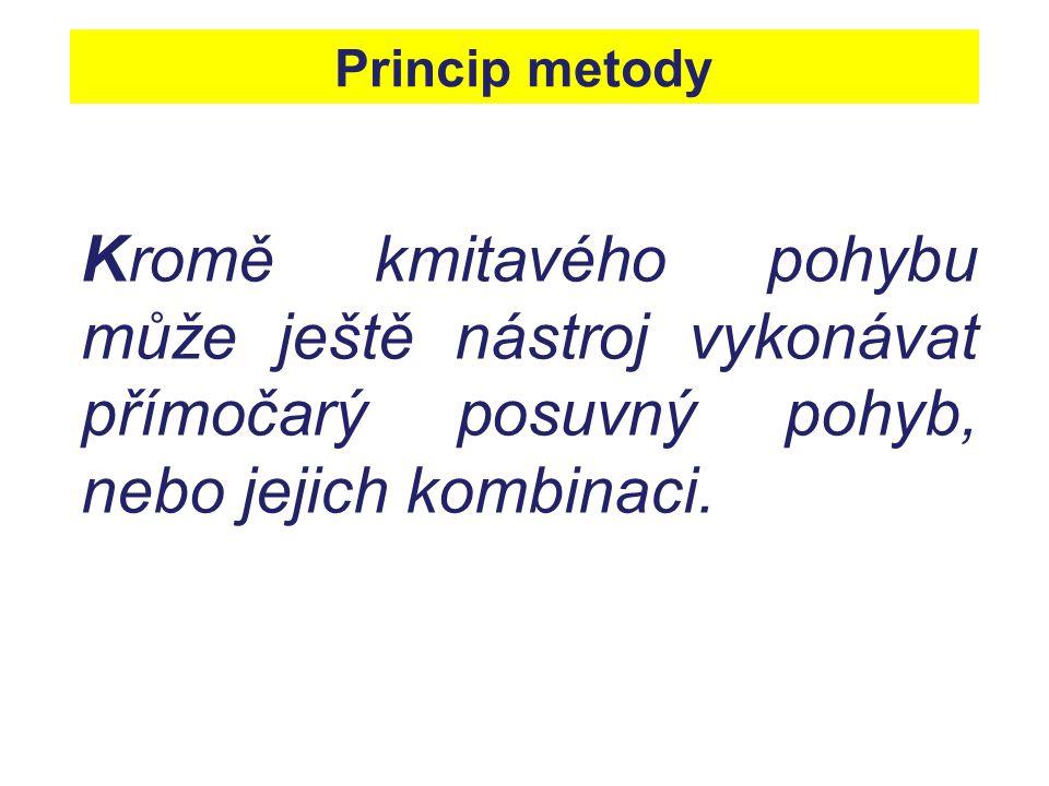 Princip metody Kromě kmitavého pohybu může ještě nástroj vykonávat přímočarý posuvný pohyb, nebo jejich kombinaci.