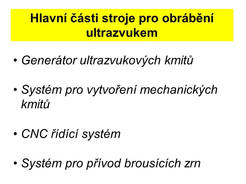Hlavní části stroje pro obrábění ultrazvukem Generátor ultrazvukových kmitů Systém pro vytvoření mechanických kmitů CNC řídící systém Systém pro přívod brousících zrn