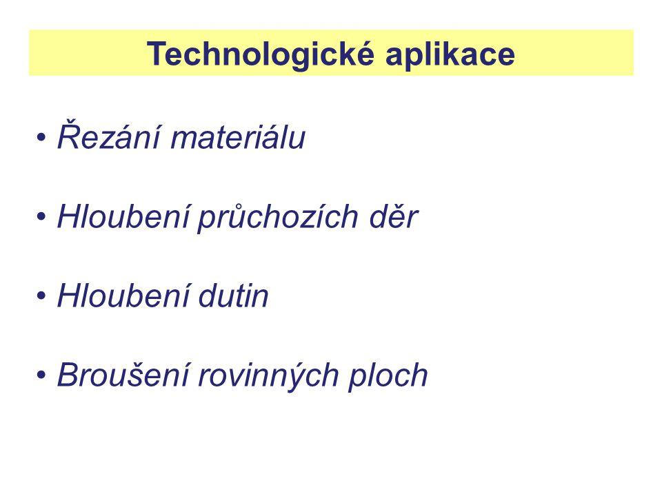Technologické aplikace Řezání materiálu Hloubení průchozích děr Hloubení dutin Broušení rovinných ploch
