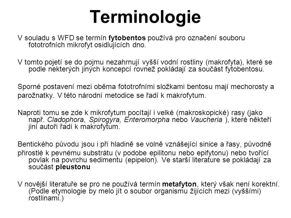 Terminologie V souladu s WFD se termín fytobentos používá pro označení souboru fototrofních mikrofyt osidlujících dno. V tomto pojetí se do pojmu neza