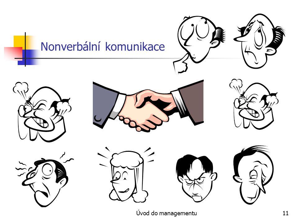 Úvod do managementu11 Nonverbální komunikace