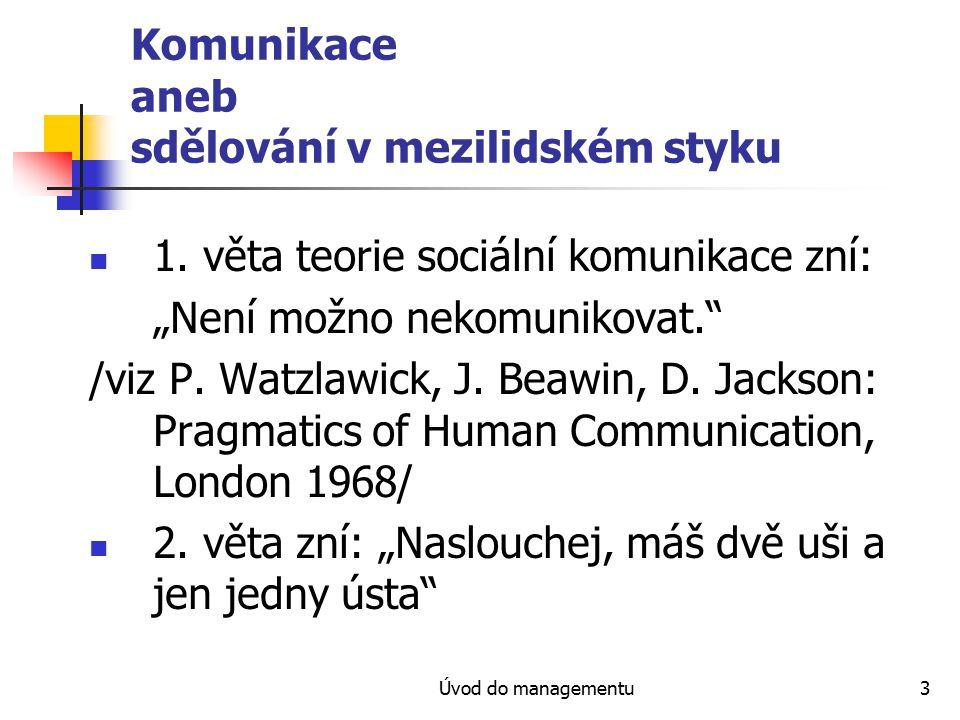 Úvod do managementu3 Komunikace aneb sdělování v mezilidském styku 1.