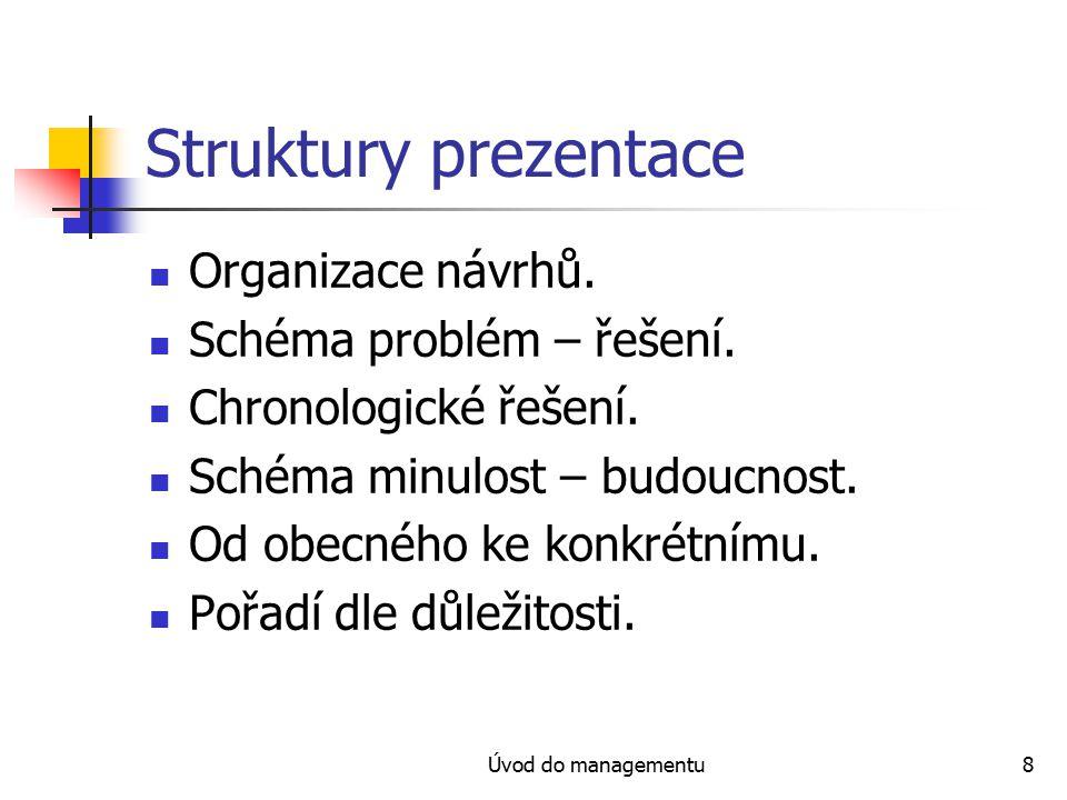 Úvod do managementu8 Struktury prezentace Organizace návrhů.