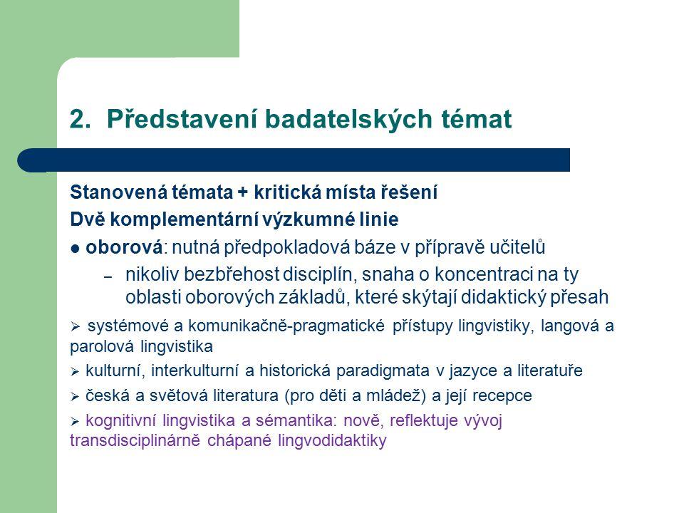  oborovědidaktická:  výzkum rozvoje čtenářství, čtenářských a předčtenářských dovedností  výzkum procesu nabývání a osvojování jazyků v průběhu školní edukace  výzkum rozvoje komunikačně-pragmatické a literární kompetence, jazykověsystémové kompetence  výzkum rozvoje mediální gramotnosti  výzkum specifik didaktické literární a jazykové komunikace  vývojověpsychologické předpoklady výuky jazyků a jejich literatur (otevřené možnosti další kooperace)
