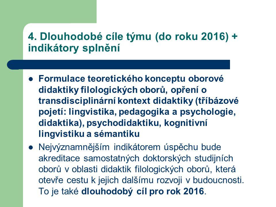 4. Dlouhodobé cíle týmu (do roku 2016) + indikátory splnění Formulace teoretického konceptu oborové didaktiky filologických oborů, opření o transdisci