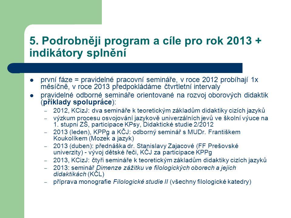 5. Podrobněji program a cíle pro rok 2013 + indikátory splnění první fáze = pravidelné pracovní semináře, v roce 2012 probíhají 1x měsíčně, v roce 201