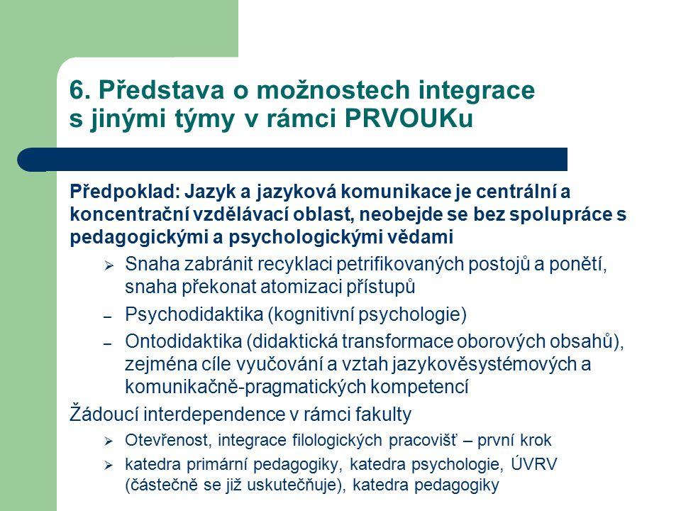 6. Představa o možnostech integrace s jinými týmy v rámci PRVOUKu Předpoklad: Jazyk a jazyková komunikace je centrální a koncentrační vzdělávací oblas