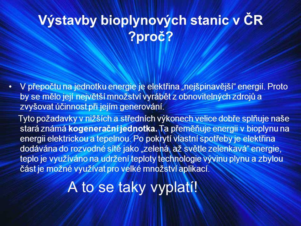 Výstavby bioplynových stanic v ČR ?proč.