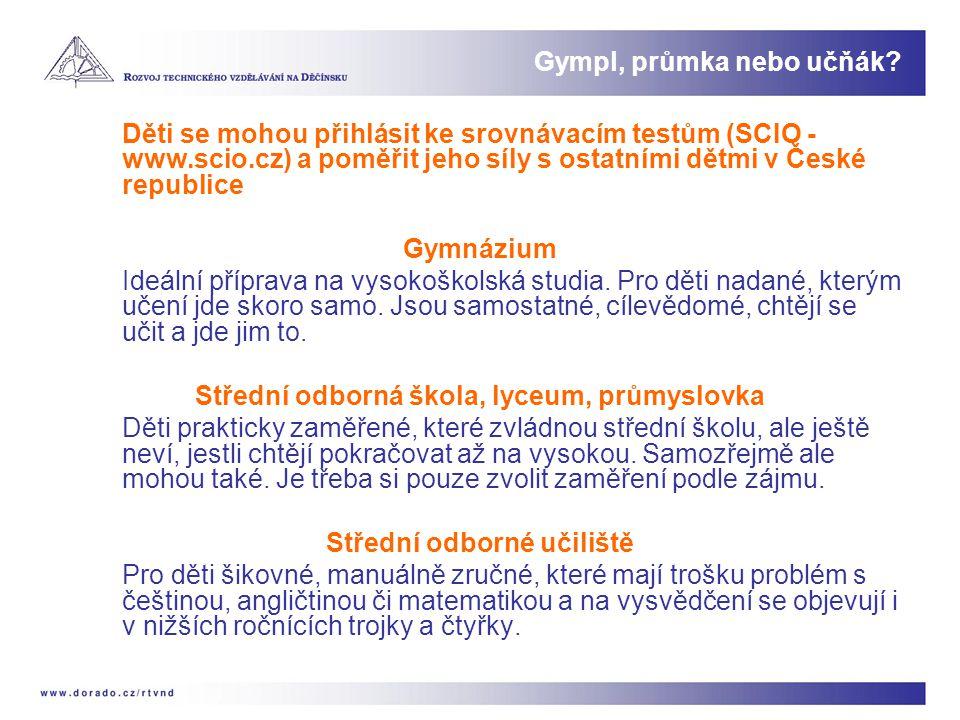 Děti se mohou přihlásit ke srovnávacím testům (SCIO - www.scio.cz) a poměřit jeho síly s ostatními dětmi v České republice Gymnázium Ideální příprava