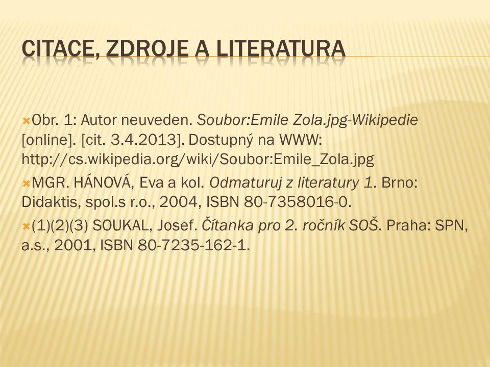  Obr. 1: Autor neuveden. Soubor:Emile Zola.jpg-Wikipedie [online]. [cit. 3.4.2013]. Dostupný na WWW: http://cs.wikipedia.org/wiki/Soubor:Emile_Zola.j