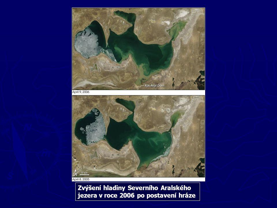 Zvýšení hladiny Severního Aralského jezera v roce 2006 po postavení hráze