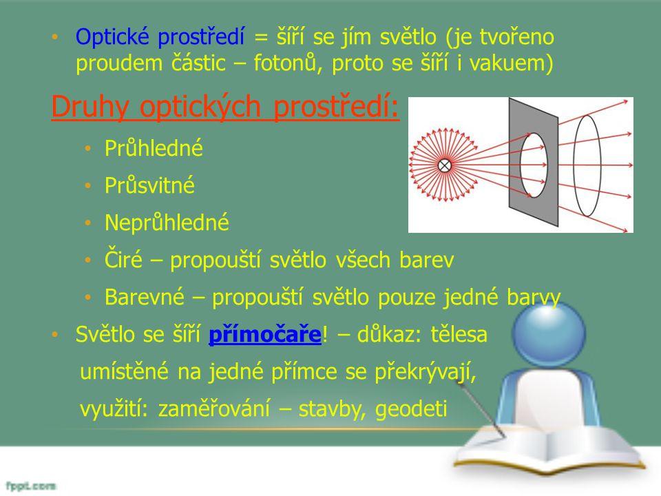 Optické prostředí = šíří se jím světlo (je tvořeno proudem částic – fotonů, proto se šíří i vakuem) Druhy optických prostředí: Průhledné Průsvitné Nep