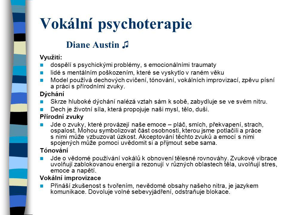 Vokální psychoterapie Diane Austin ♫ Využití: dospělí s psychickými problémy, s emocionálními traumaty lidé s mentálním poškozením, které se vyskytlo