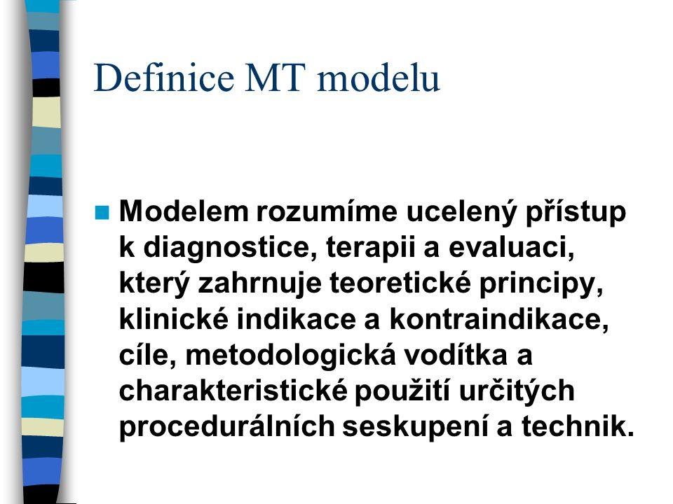 Definice MT modelu Modelem rozumíme ucelený přístup k diagnostice, terapii a evaluaci, který zahrnuje teoretické principy, klinické indikace a kontrai