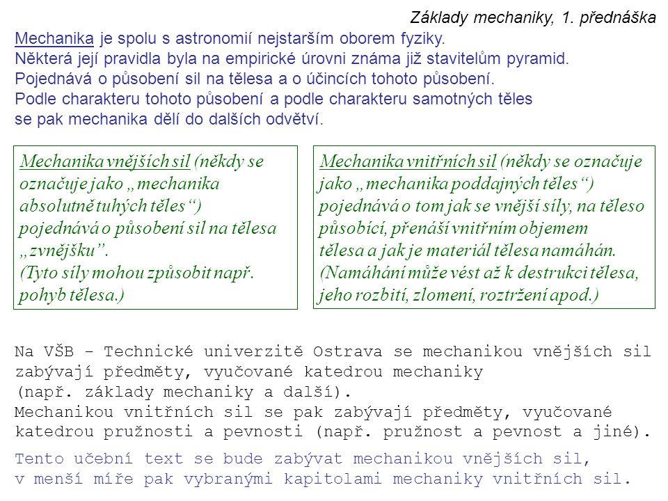 Základy mechaniky, 1. přednáška Mechanika je spolu s astronomií nejstarším oborem fyziky. Některá její pravidla byla na empirické úrovni známa již sta