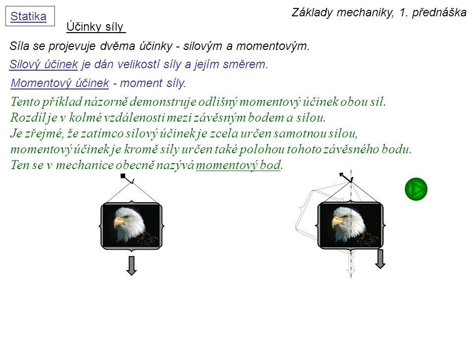 Základy mechaniky, 1. přednáška Statika Účinky síly Síla se projevuje dvěma účinky - silovým a momentovým. Momentový účinek - moment síly. Tento příkl