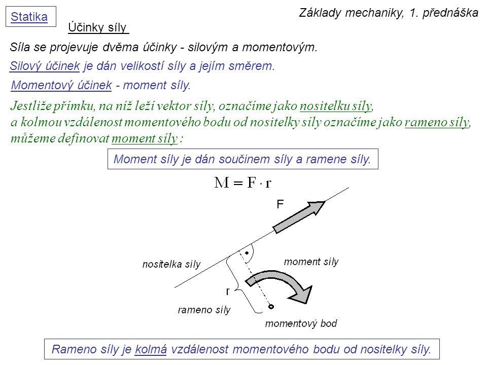 Základy mechaniky, 1. přednáška Statika Jestliže přímku, na níž leží vektor síly, označíme jako nositelku síly, a kolmou vzdálenost momentového bodu o
