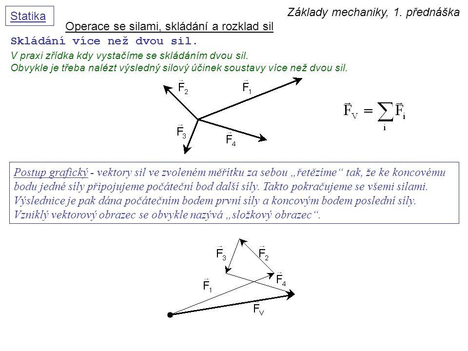 Základy mechaniky, 1. přednáška Statika Skládání více než dvou sil. V praxi zřídka kdy vystačíme se skládáním dvou sil. Obvykle je třeba nalézt výsled
