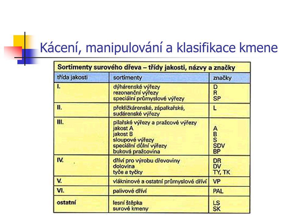 Kácení, manipulování a klasifikace kmene Schéma využití surového dřeva