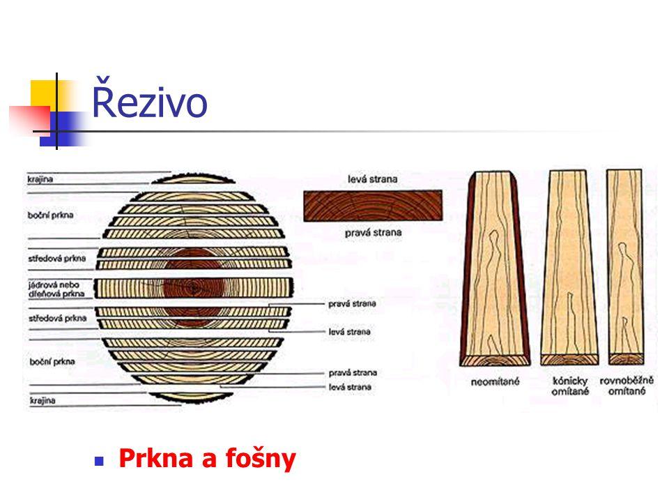 Řezivo U pořezu na ostro se kmen rozřeže jedním průchodem rámovou pilou.