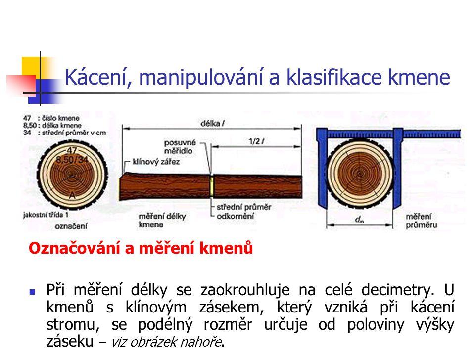 Kácení, manipulování a klasifikace kmene Označování a měření kmenů Při měření délky se zaokrouhluje na celé decimetry.
