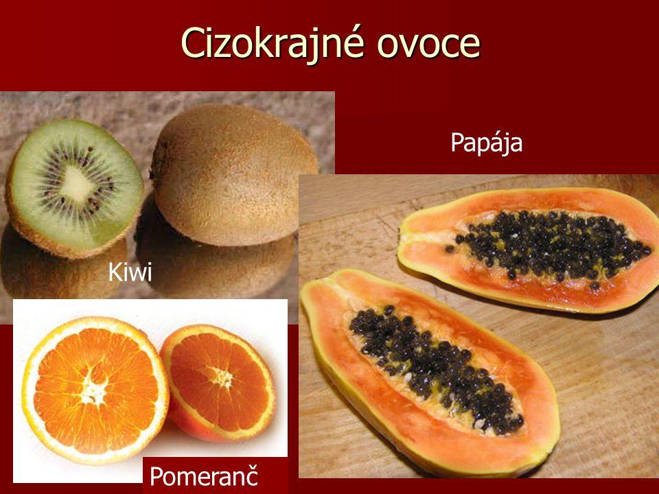 Cizokrajné ovoce Papája Kiwi Pomeranč