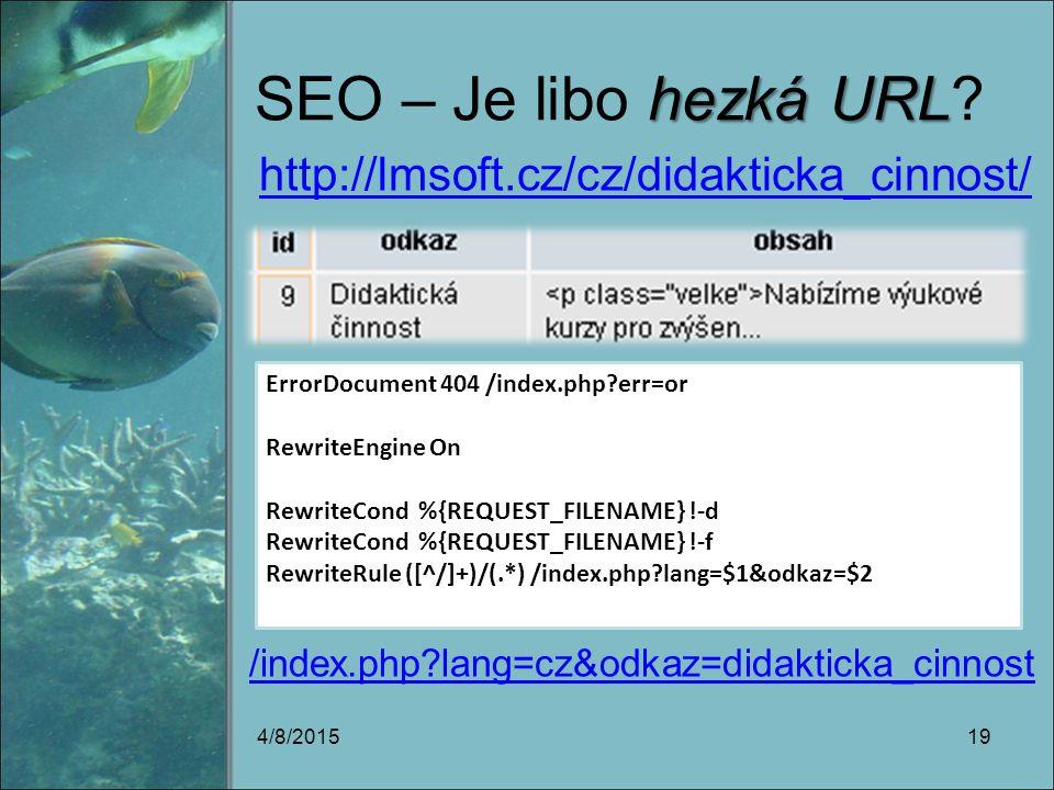 hezká URL SEO – Je libo hezká URL.