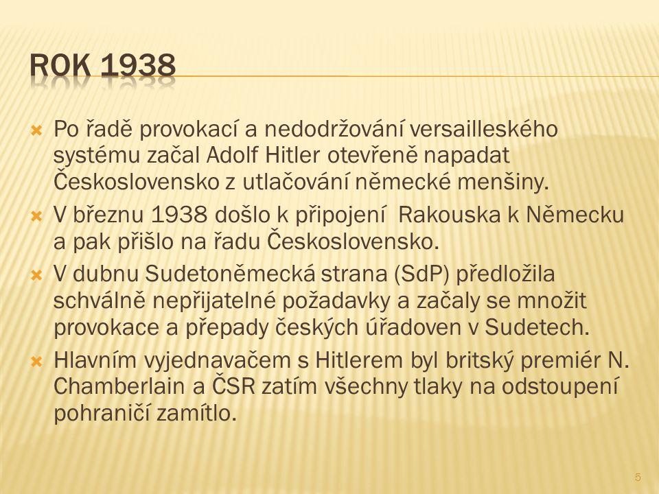  Po řadě provokací a nedodržování versailleského systému začal Adolf Hitler otevřeně napadat Československo z utlačování německé menšiny.