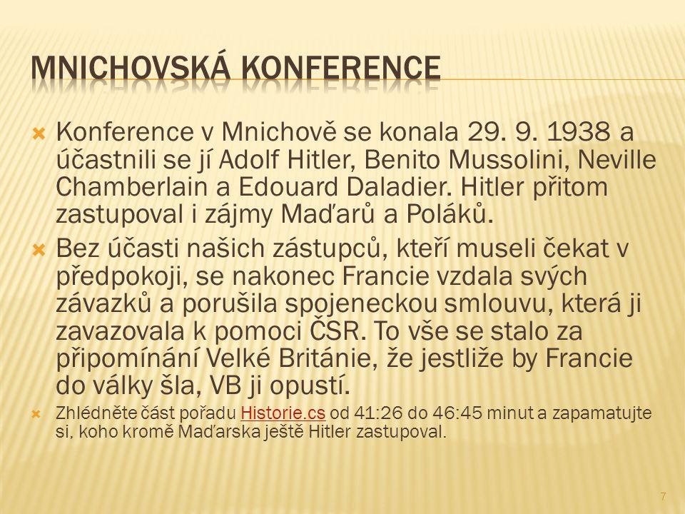  Konference v Mnichově se konala 29. 9.
