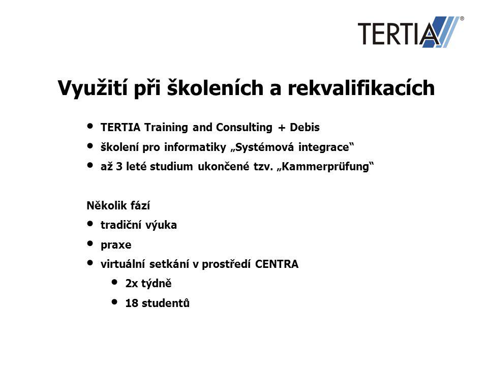 """Využití při školeních a rekvalifikacích TERTIA Training and Consulting + Debis školení pro informatiky """"Systémová integrace"""" až 3 leté studium ukončen"""
