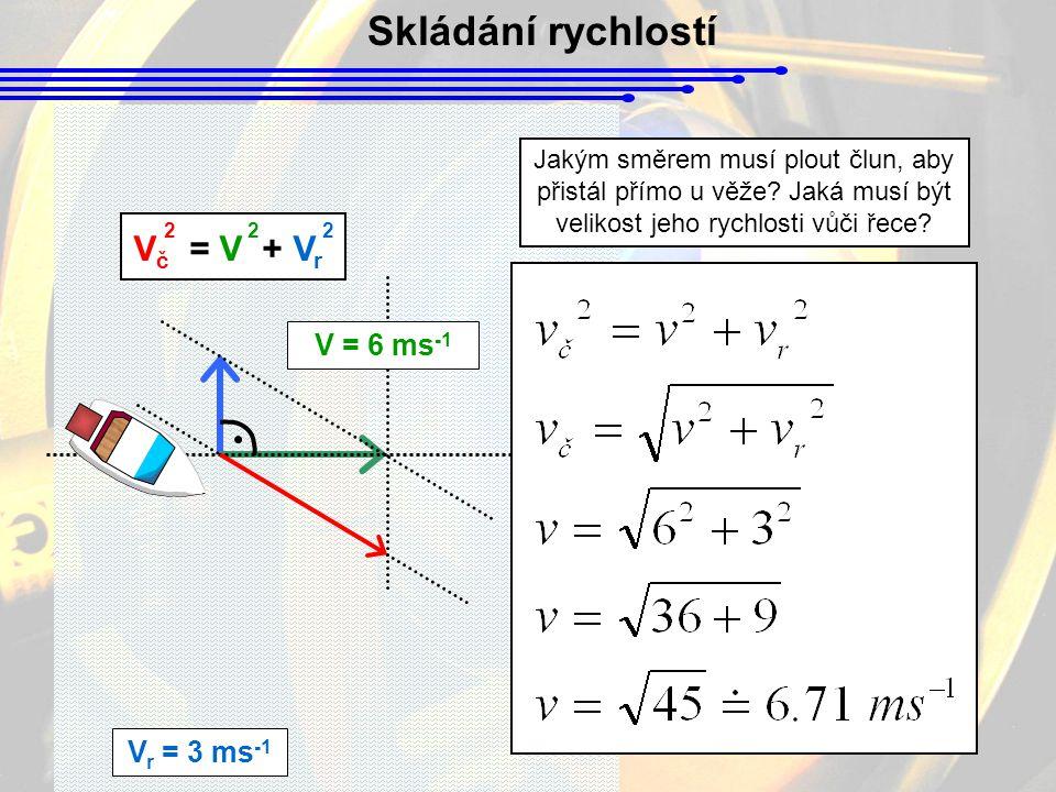 Skládání rychlostí V r = 3 ms -1 Jakým směrem musí plout člun, aby přistál přímo u věže.