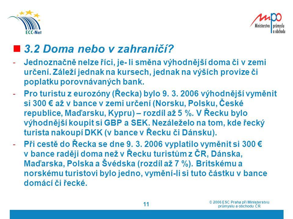 © 2006 ESC Praha při Ministerstvu průmyslu a obchodu ČR 11 3.2 Doma nebo v zahraničí? -Jednoznačně nelze říci, je- li směna výhodnější doma či v zemi