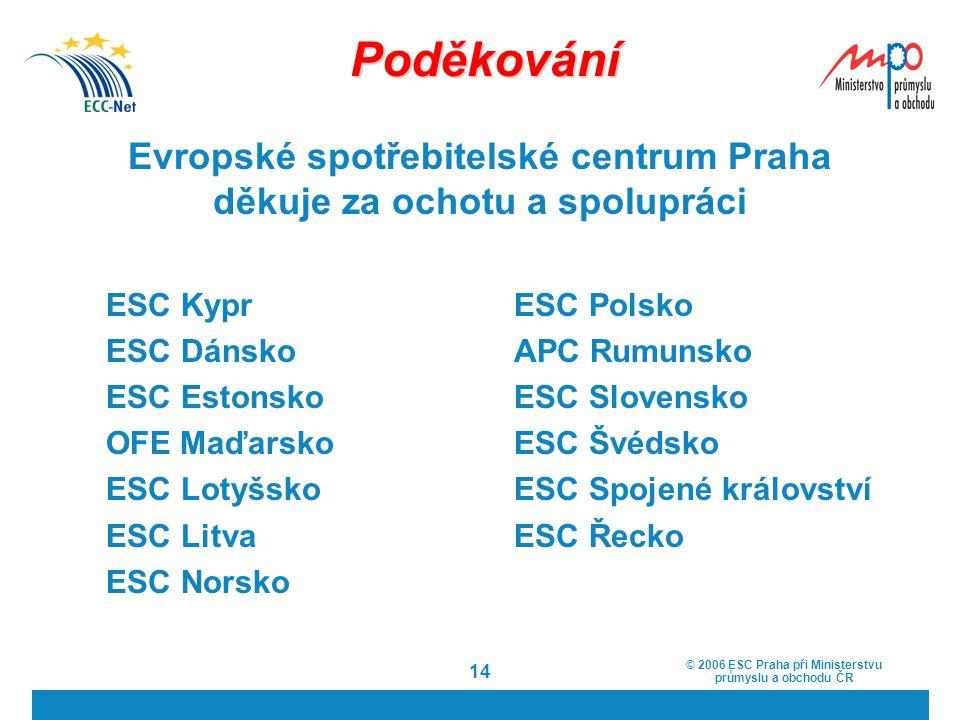 © 2006 ESC Praha při Ministerstvu průmyslu a obchodu ČR 14 Poděkování Evropské spotřebitelské centrum Praha děkuje za ochotu a spolupráci ESC Kypr ESC